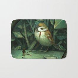 Arrogant sparrow Bath Mat