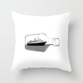 ship in a bottle . Artwork (  https://society6.com/vickonskey/collection ) Throw Pillow