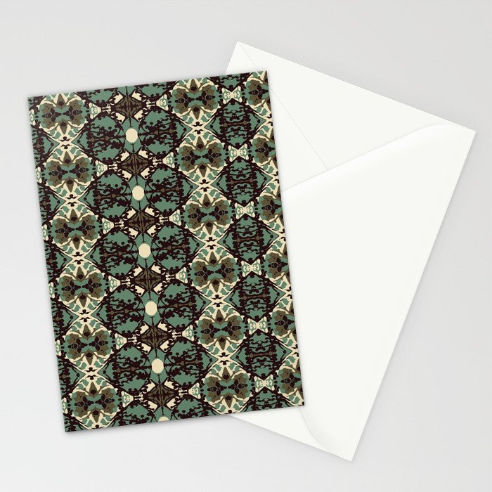 Blue and Brown Damask Stripes Stationery Cards