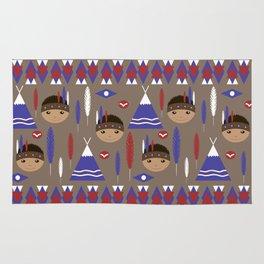 Seamless kids cute American indian native retro background pattern Rug