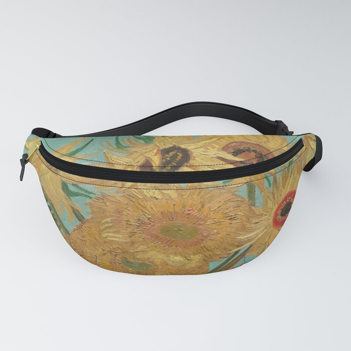 Vase with Twelve Sunflowers Fanny Pack