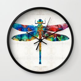 Colorful Dragonfly Art By Sharon Cummings Wall Clock