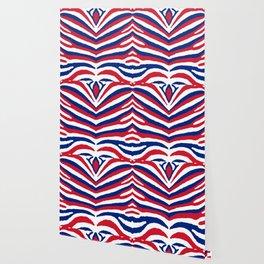 UK British Union Jack Red White and Blue Zebra Stripes Wallpaper