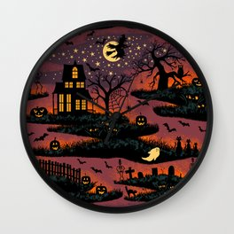 Halloween Night - Bonfire Glow Wall Clock