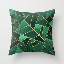 Emerald and Copper Throw Pillow