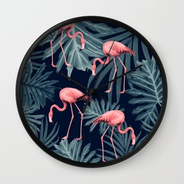 Summer Flamingo Jungle Night Vibes #1 #tropical #decor #art #society6 Wall Clock