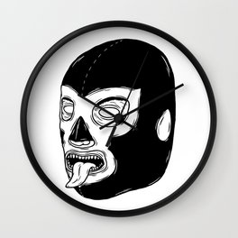 Black Luchador Wall Clock