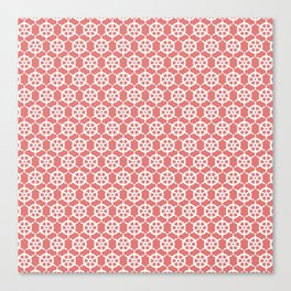 Ship's Wheel Pattern over Red Canvas Print