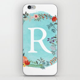 Personalized Monogram Initial Letter R Blue Watercolor Flower Wreath Artwork iPhone Skin