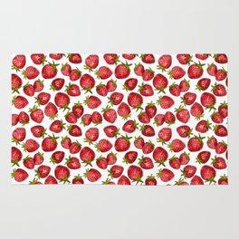 Watercolor Strawberries Rug