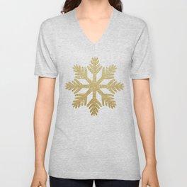 Gold Glitter Snowflake Unisex V-Neck