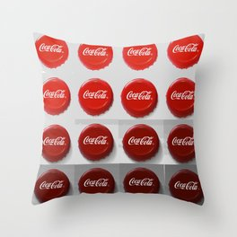 Coke Caps Throw Pillow
