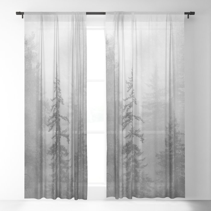 Forest In The Clouds - Nature Photography Sheer Curtain