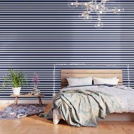 Navy Blue and White Stripes Wallpaper