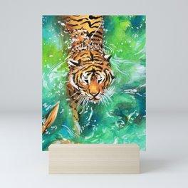 Swimming Tiger Mini Art Print