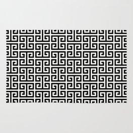 Black and White Greek Key Pattern Rug