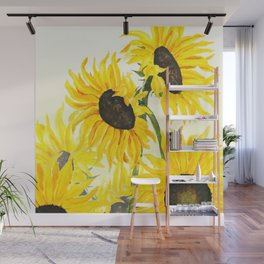 sunflower watercolor 2017 Wall Mural
