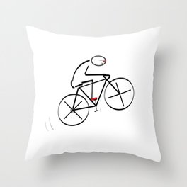 Stylized Bicyclist Throw Pillow