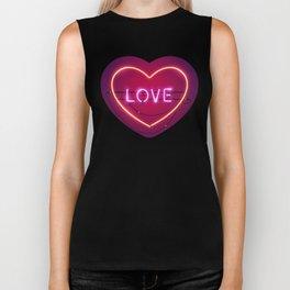 Pink Love in the Heart Neon Sign Biker Tank
