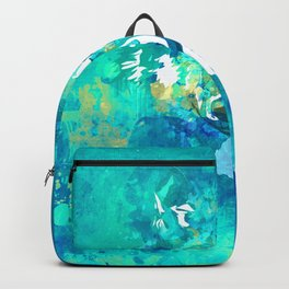 Teal yellow hand painted watercolor wolf Backpack