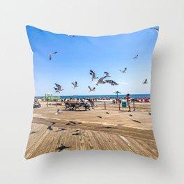 Seagulls of Coney Island Throw Pillow
