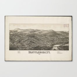 Vintage Pictorial Map of Brattleboro VT (1886) Canvas Print