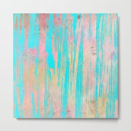 Modern pink watercolor turquoise artistic brushstrokes Metal Print