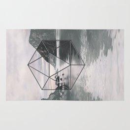 Surreal Geometric Calm Water Landscape View Hexagon Rug