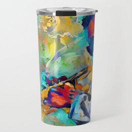 Jazz State of Mind - Colorful Impressionism Miles D. Davis Louis Armstrong Trumpeters Travel Mug
