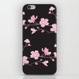 Cherry Blossom - Black iPhone Skin