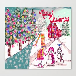 Merry Christmas Snowgirl Canvas Print
