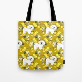 Bichon Frise on Yellow Rose Floral Autumn Gold Tote Bag