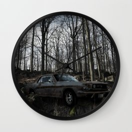 Car in the Woods Wall Clock