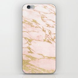Blush pink abstract gold glitter marble iPhone Skin