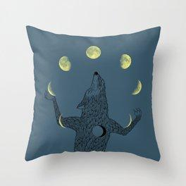 Moon Juggler Throw Pillow