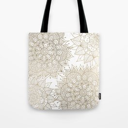 Elegant faux gold white spiritual floral mandala Tote Bag