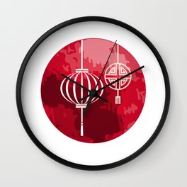 Red Lanterns Hoi An Vietnam Wall Clock