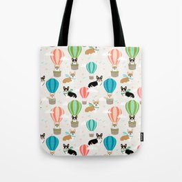 Corgi hot air balloon ride cute gifts for corgi lovers welsh corgi red and tricolored Tote Bag