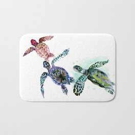 Sea Turtle Family, family art Bath Mat