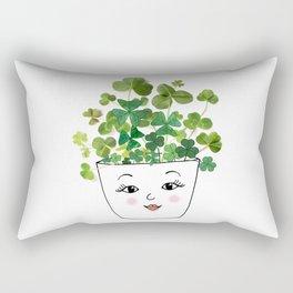 Shamrock Face Vase Rectangular Pillow