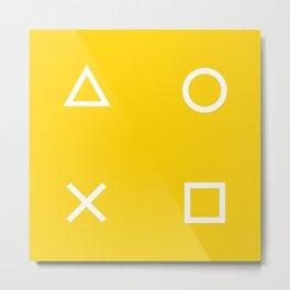 Yellow Gamer Pattern Metal Print
