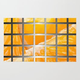 Orange Slices & Square Grid Collage Metallic Rug