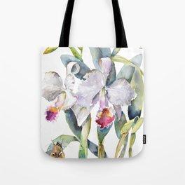 Vintage White Cattleya Orchids and Moth Poster Botanical Design Tote Bag