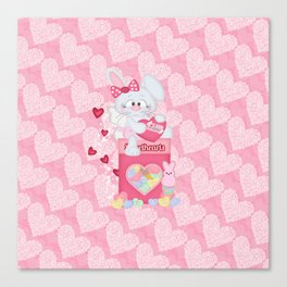 Valentines Bunny and Sweet Heart Candy Canvas Print