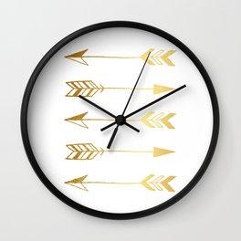 Faux gold foil arrows Wall Clock