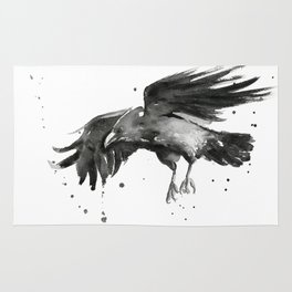 Raven Watercolor Bird Painting Black Animals Rug