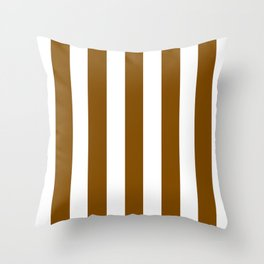 Dark bronze brown - solid color - white vertical lines pattern Throw Pillow