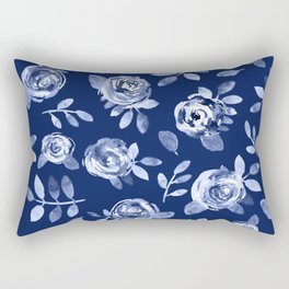 Hand painted navy blue white watercolor floral roses pattern Rectangular Pillow