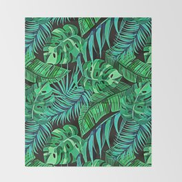 Blue and Green Ferns and Tropical Leaves Throw Blanket