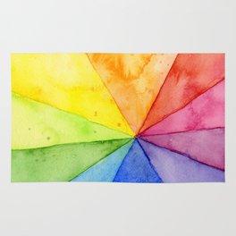 Rainbow Watercolor Geometric Pattern Rug